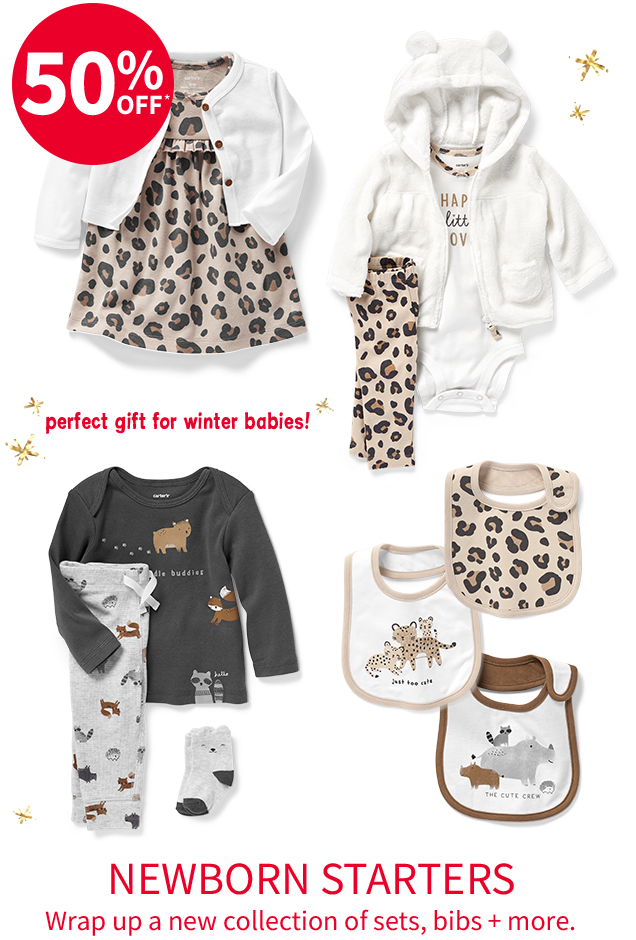 50% OFF* perfect gift for winter babies! | NEWBORN STARTERS Wrap up a new collection of sets, bibs + more.