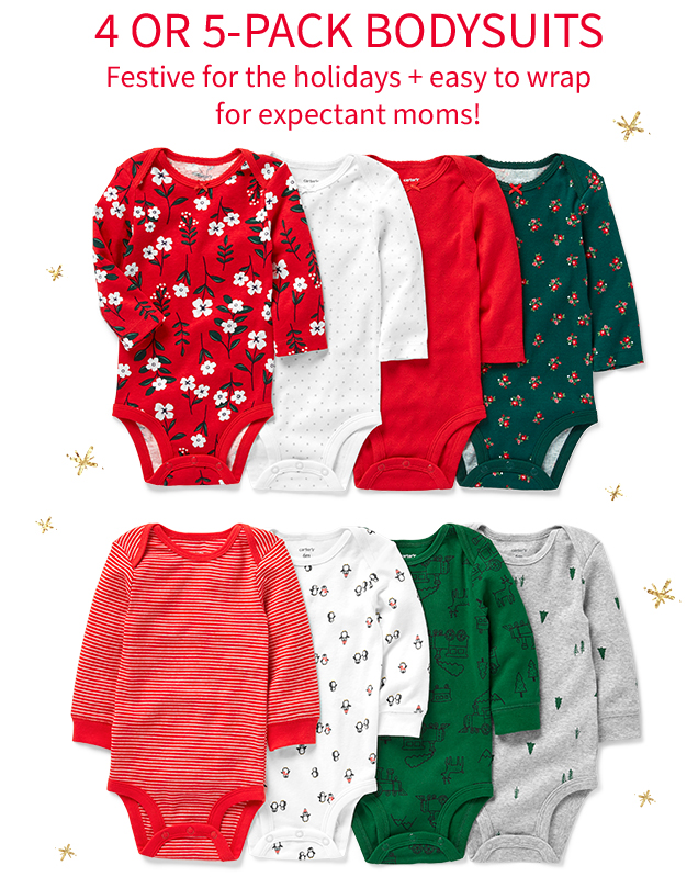 4 OR 5-PACK BODYSUITS | Festive for the holidays + easy to wrap for expectant moms!