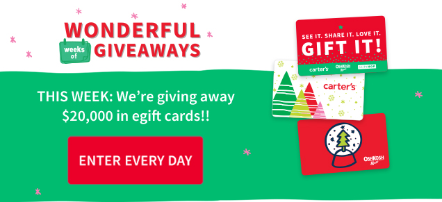 WONDERFUL GIVEAWAYS | THIS WEEK: We're giving away $20,000 in egift cards!! | ENTER EVERY DAY