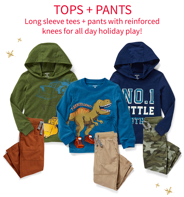 TOPS + PANTS | Long sleeve tees + pants with reinforced knees for all day holiday play!