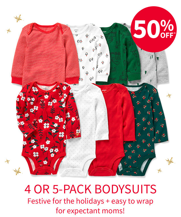 50% OFF* | 4 OR 5-PACK BODYSUITS | Festive for the holidays + easy to wrap for expectant moms!