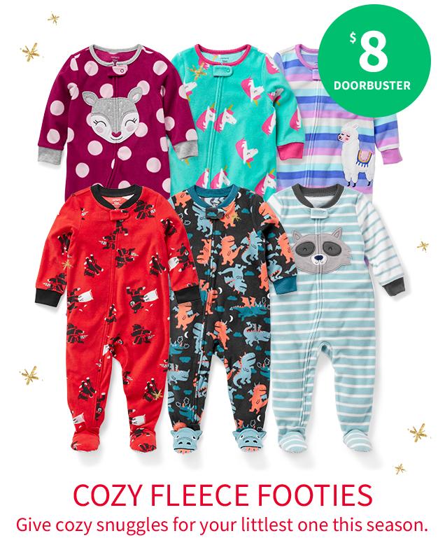 $8 DOORBUSTER | COZY FLEECE FOOTIES | Give cozy snuggles for your littlest one this season.